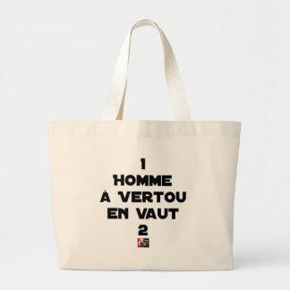 Grand Tote Bag 1 HOMME À VERTOU EN VAUT 2 - Jeux de mots