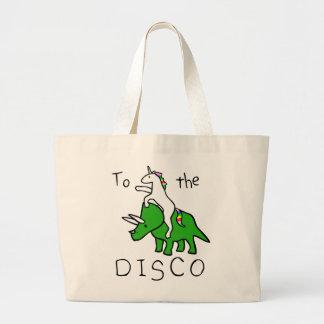Grand Tote Bag À la disco (Triceratops d'équitation de licorne)