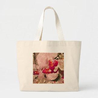 Grand Tote Bag Abrégé sur rouge et blanc orchidée