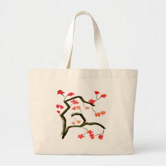 Grand Tote Bag Accent rouge de fleurs de cerisier