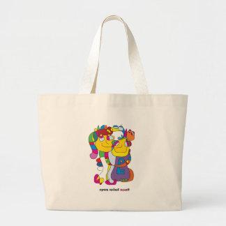 Grand Tote Bag Adam et noa drôle de couples d'illustration de la