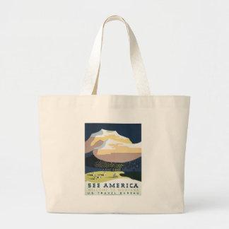 Grand Tote Bag Affiche vintage Montana Amérique Etats-Unis de