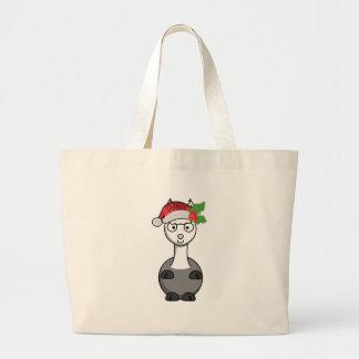 Grand Tote Bag alpaga de Noël le père noël