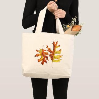 Grand Tote Bag Amant d'encre et de nature de feuille d'automne