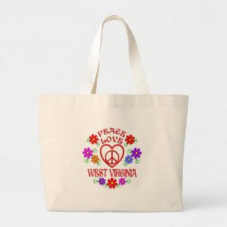 Grand Tote Bag Amour la Virginie Occidentale de paix