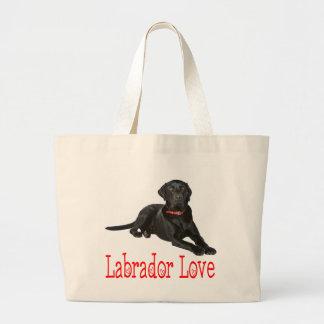 Grand Tote Bag Amour noir de chiot de labrador retriever