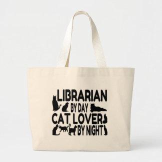 Grand Tote Bag Amoureux des chats de bibliothécaire