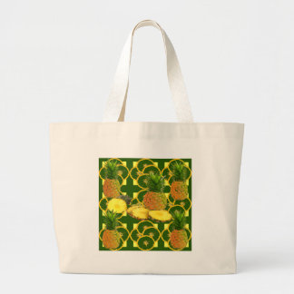 GRAND TOTE BAG ANANAS GÉOMÉTRIQUE DÉCORATIF DE GREEN-YELLOW