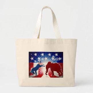 Grand Tote Bag Âne de combat d'éléphant de silhouette