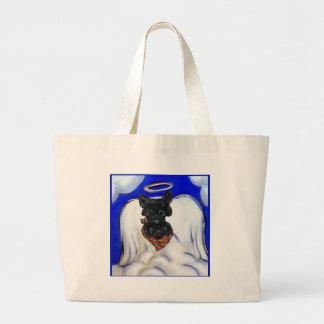 Grand Tote Bag Ange noir de Terrier d'écossais