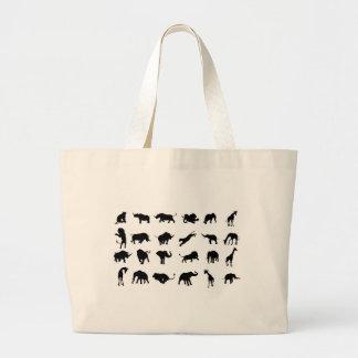 Grand Tote Bag Animal africain de safari de silhouette