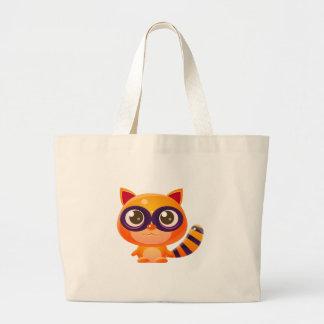Grand Tote Bag Animal de bébé de raton laveur dans le style doux
