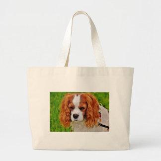 Grand Tote Bag Animal de compagnie drôle cavalier d'épagneul du