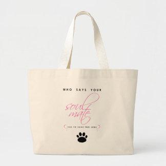 Grand Tote Bag Animal familier rose et noir de silhouette d'âme