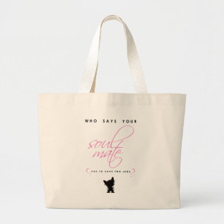Grand Tote Bag Animal familier rose et noir de silhouette d'âme
