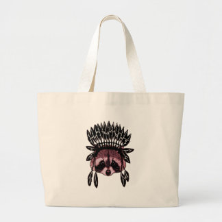 Grand Tote Bag aquarelle indigène de raton laveur