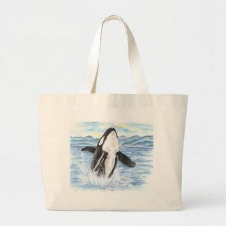Grand Tote Bag Aquarelle ouvrant une brèche la baleine d'orque