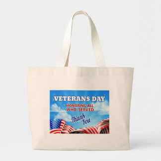 Grand Tote Bag Arrière - plan de ciel de drapeau américain de