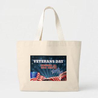 Grand Tote Bag Arrière - plan de drapeau américain de jour de