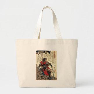 Grand Tote Bag Art classique oriental de guerrier de cool