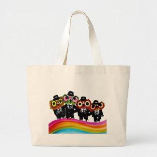 Grand Tote Bag Art d'arc-en-ciel d'amis de hibou