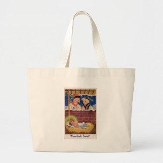 Grand Tote Bag Art de Noël polonais de Wesołyeh Świąt de cru