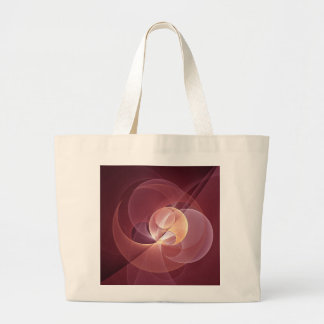 Grand Tote Bag Art moderne abstrait de fractale de rose de vin