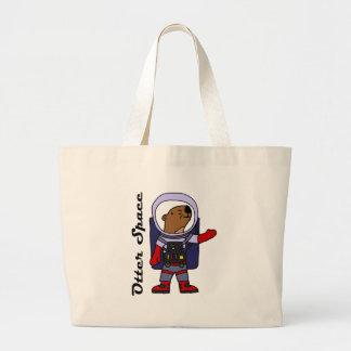 Grand Tote Bag Astronaute drôle de loutre de mer dans la bande