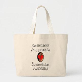 Grand Tote Bag Au Rugby, j'apprends à me faire plaquer