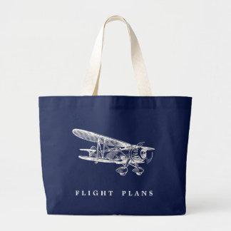 Grand Tote Bag Avion vintage, plans de vol