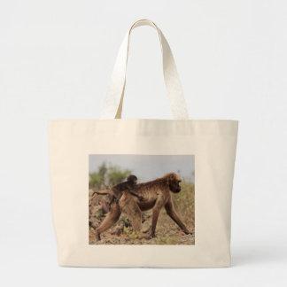 Grand Tote Bag Babouin femelle de gelada avec un bébé