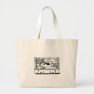 Grand Tote Bag Bag - Cassette / K7 Vintage - Retro Cream White