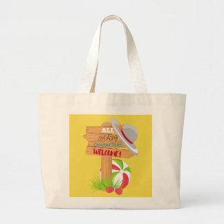 Grand Tote Bag Ballon de plage louche de caractères