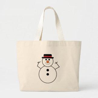 Grand Tote Bag Bande dessinée de bonhomme de neige