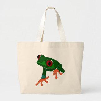 Grand Tote Bag Bande dessinée de grenouille verte