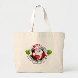 Grand Tote Bag Bande dessinée de Père Noël déchirant par un