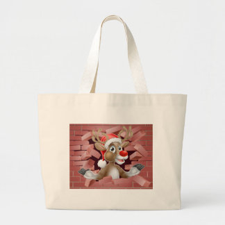 Grand Tote Bag Bande dessinée de renne de casquette de Père Noël