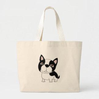 Grand Tote Bag Bande dessinée drôle de chiot de Boston Terrier