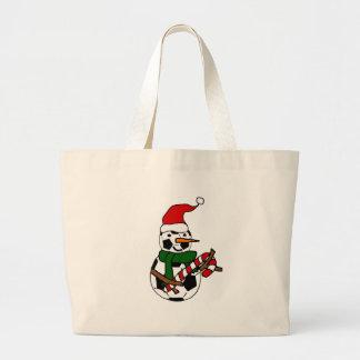 Grand Tote Bag Bande dessinée drôle de Noël de bonhomme de neige