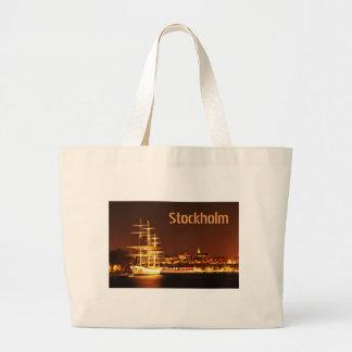 Grand Tote Bag Bateau la nuit à Stockholm, Suède