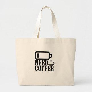 Grand Tote Bag BATTERIE de café du besoin BASSE.