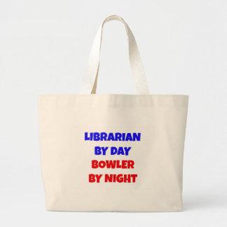 Grand Tote Bag Bibliothécaire par le lanceur de jour par nuit