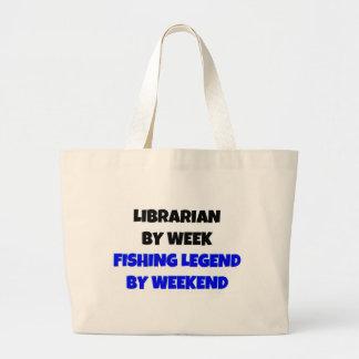 Grand Tote Bag Bibliothécaire par légende de pêche de semaine par