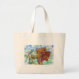 Grand Tote Bag BISON .1 d'aquarelle