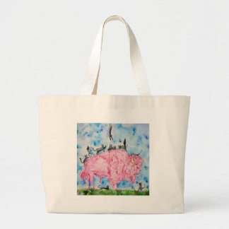 Grand Tote Bag bison rose et chats noirs