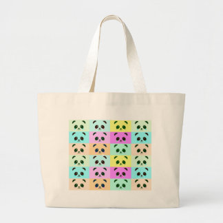 Grand Tote Bag Bleu de rose de jaune d'art de bruit d'ours panda