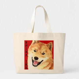 Grand Tote Bag Bloc de couleur de Shiba Inu