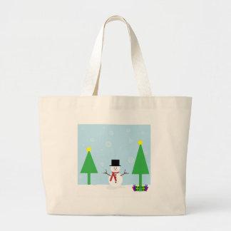 Grand Tote Bag Bonhomme de neige de Noël
