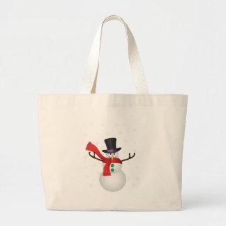 Grand Tote Bag Bonhomme de neige de Noël avec l'illustration de