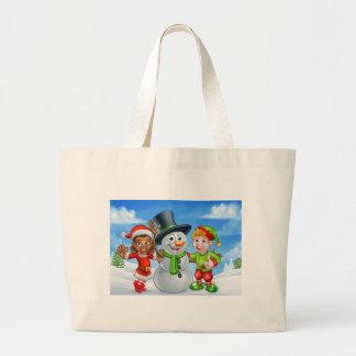Grand Tote Bag Bonhomme de neige de Noël de bande dessinée et
